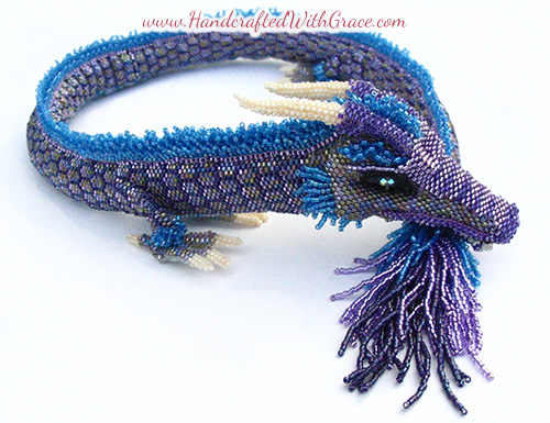 Jezebel the 3D Beaded Dragon Necklace by Theresa Caroon www.handcraftedwithgrace.com