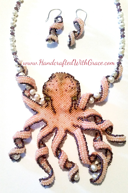 Beaded Octopus Necklace by Theresa Caroon www.handcraftedwithgrace.com