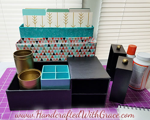 DIY Custom Decor Desk Organizer Recycle boxes into a desk organizer to fit your office decor
