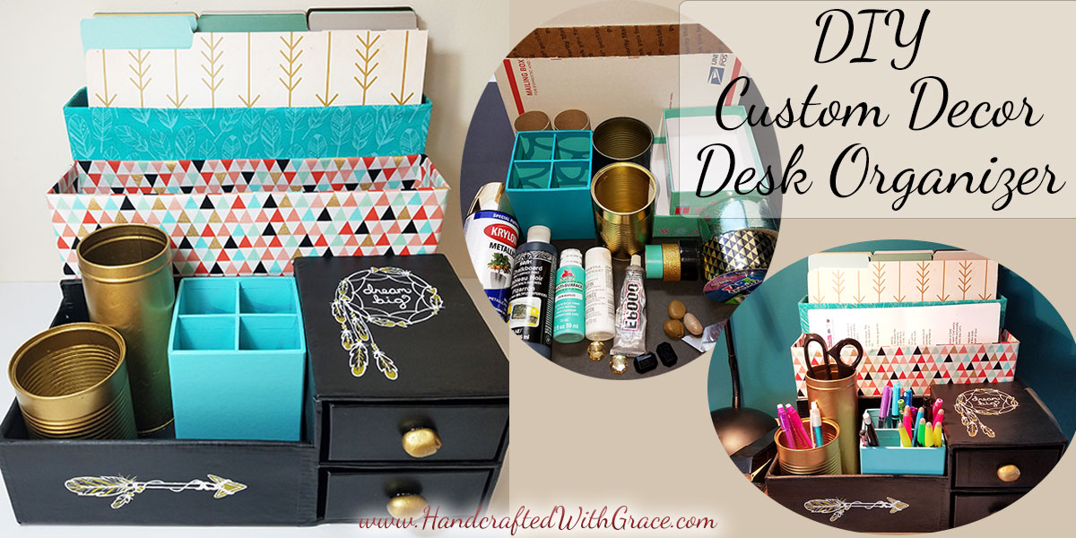 DIY Custom Decor Desk Organizer – Recycle boxes into a desk organizer to fit your office decor.