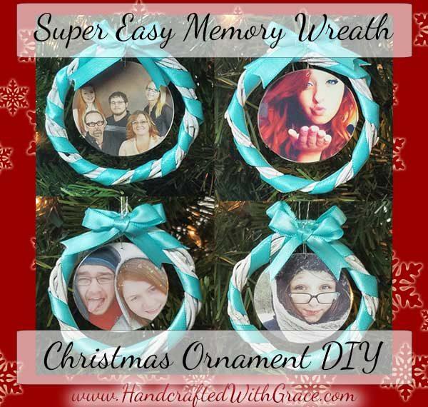 Super Easy Memory Wreath Christmas Ornament DIY