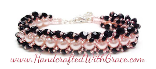 Woven Braid Beaded Bracelet Sample in Black and Pink